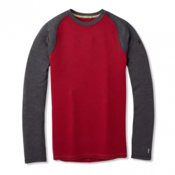 SW M'S Merino 250 Crew Tibetan red Charcoal heather