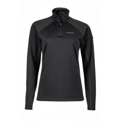 Wms Stretch Fleece 1/2 Zip Black