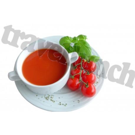Tūristu pārtika Tomātu zupa ar grauzdiņiem