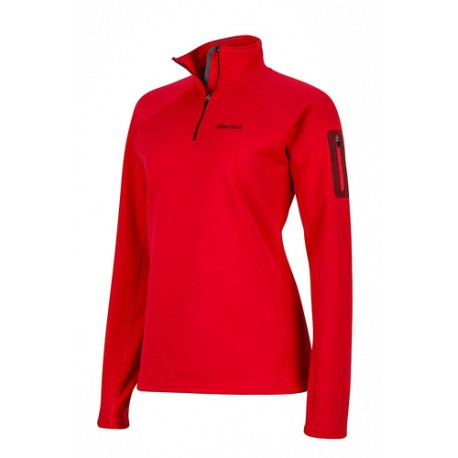 Jaka Wms Stretch Fleece 1/2 Zip Persian red